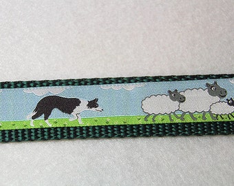 Border Collie with Sheep Adjustible Dog Collar, with Optional Matching Leash