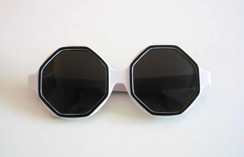 3f99bccaa 1960s Style Oversized Black and White Octagon Lens Sunglasses | Etsy