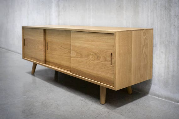Ideal Solid White Oak Media Console/ Credenza/ Sideboard/ Cabinet DP75