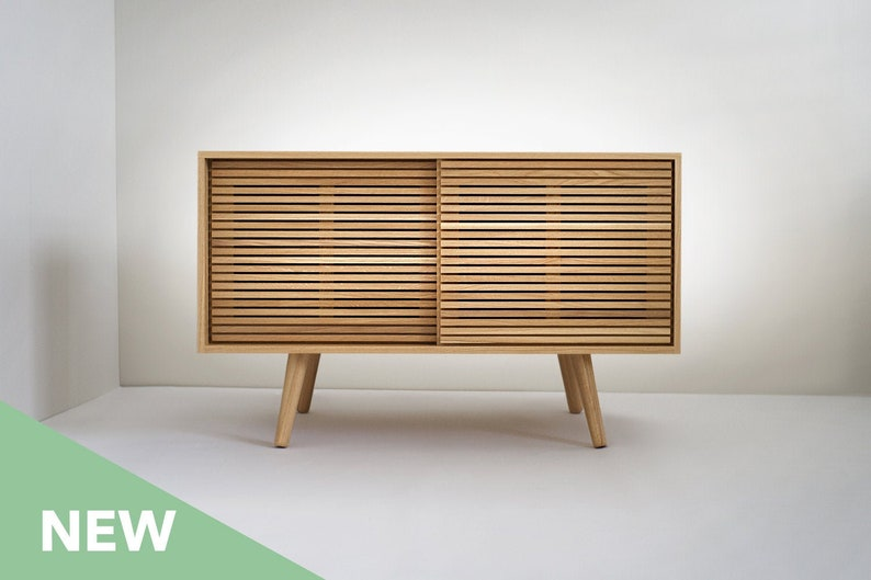 Swell Solid White Oak Buffet Table Sideboard Credenza Cabinet With Slatted Doors Home Interior And Landscaping Palasignezvosmurscom
