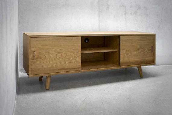 La Credenza Vertaling : Solid white oak media console credenza sideboard cabinet etsy