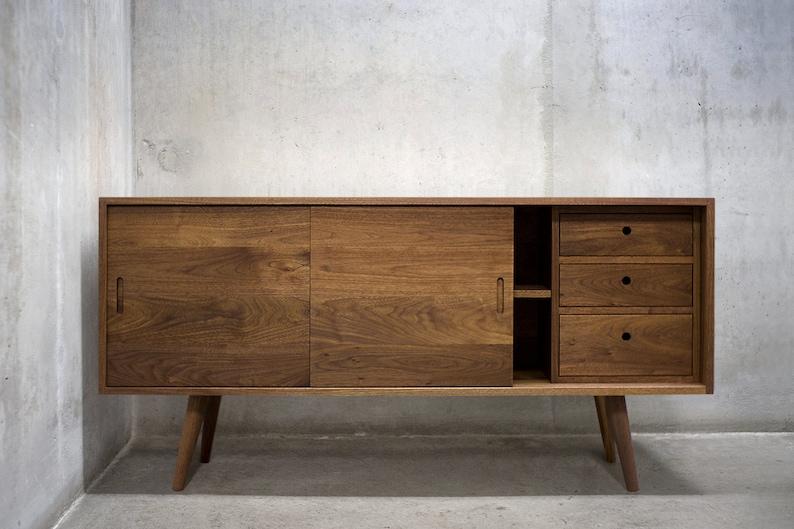 60 Solid Black Walnut Buffet Table Sideboard Credenza Etsy