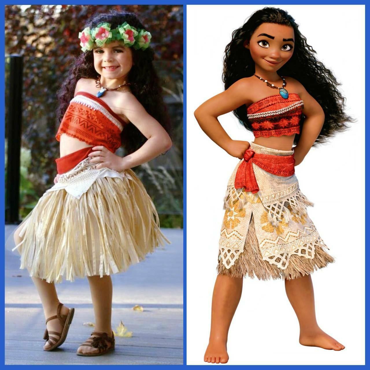 Kids Girl Moana Costume Princess Cosplay Party Dress Long Sleeve Halloween Dress