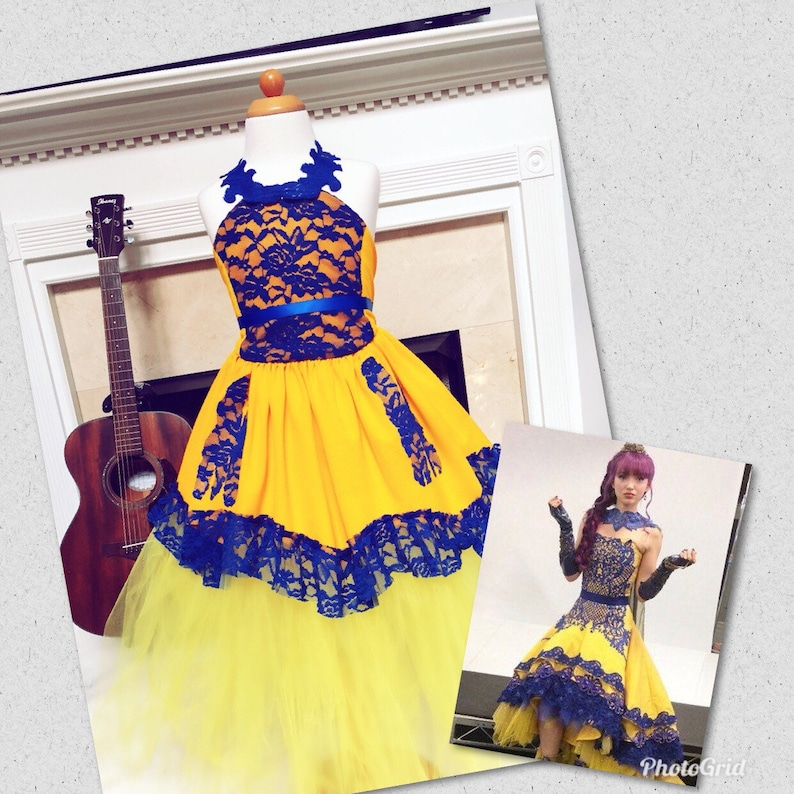 Mal descendants 2 costume Mal descendants 2 Coronation yellow dress Disney  coronation descendants dress Halloween costume 2019