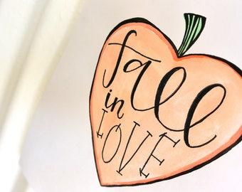 Fall In Love Pumpkin Handwritten Sign