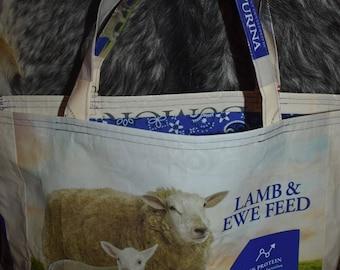 New Handmade Large Sheep Lamb Farm Denim Tote Bag