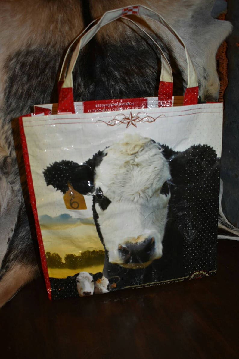 Recycled country ranch purina cattle feed sack wbald face cow totebagpurseshopping bagstock showffa