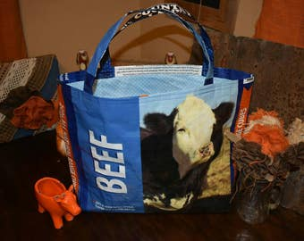 Recycled feed sack beef w/bald face cow/cattle with blue polka dot liner tote/bag/purse/shopping bag