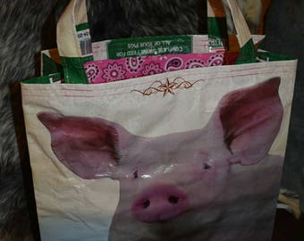 Recycled feed sack bag/purse/tote/grocery/stock show pig w/pink paisley liner