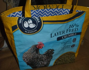 Recycled feed sack chicken/hen bag/purse/tote/shopping/stock show with blue chevron fabric liner