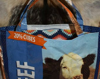 Recycled feed sack w/bald face cow/cattle with a Aztec fabric liner tote/bag/purse/shopping bag country/farm