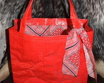 Recycled feed sack tote w/red paisley bag/purse/reusable shopping/