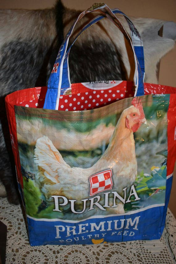 Recycled feed sack tote wchickens with black fabric liner bagpursereusable shoppingstock showspringffa