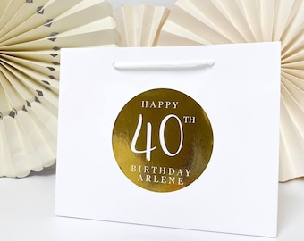 Birthday Gift Bags Personalised | WHITE BIRTHDAY FOIL  | Big Number Gift Bag | Rose Gold Foil  | Birthday Party Favour