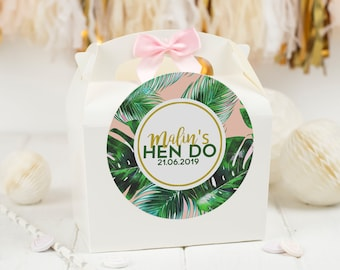 Personalised *FILLED* Hen Party box TROPICAL FIESTA Hen Night Favour Gift bag