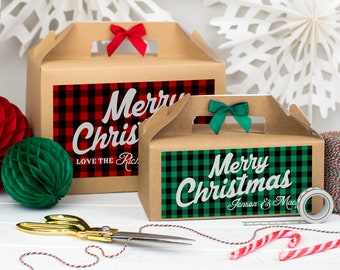 Christmas Gift Box Personalised   MERRY CHRISTMAS PLAID   Present boxes with ribbon bow