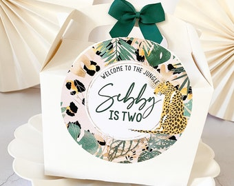 Personalised Childrens Activity Party Favour Gift Box | JUNGLE ANIMAL | Wedding Birthday Party Gift Bag with Bow