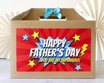 FATHERS DAY Gift Box  | SUPERHERO | Kraft present for Dad Daddy Retro Personalised