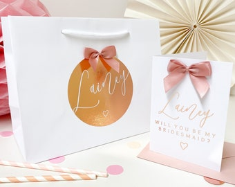 Will you be my bridesmaid Bag| LUXURY FOIL BOW | Bridesmaid reveal | rose gold bags