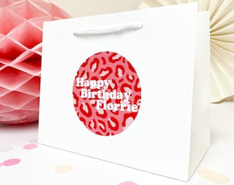 Happy Birthday gift bag | PINK LEOPARD | leopard print | baby pink tassel bow