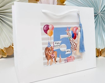 Circus Birthday Gift Bags Personalised | PARTY ANIMALS  | Childens Party Bag Happy Birthday