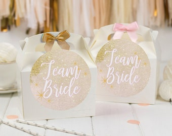Personalised Party Favour Gift Box   GLITTER TEAM BRIDE   Celebration Party Gift Bag with Bow and glitter effect