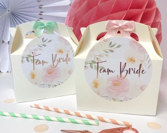 Personalised Team Bride Hen Party Favour Gift Box | ROSE GOLD PEONY | Celebration Party Gift Bag with Bow