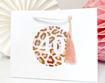 Birthday Gift Bags Personalised | ROSE GOLD LEOPARD foil  | Big Number Gift Bag | Rose Gold Foil  | Birthday Party Favour