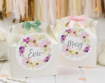 Personalised Childrens Activity Party Favour Gift Box | WATERCOLOUR FLORAL WREATH | Wedding Birthday Party Gift Bag with Bow