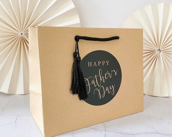 Birthday Gift Bags luxury Personalised | KRAFT FATHERS DAY | Big Number Gift Bag | Rose Gold Foil  | Birthday Party Favour