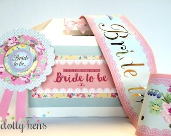 Bride to be gift box / Cottage Chic Vintage Floral / Filled / Rosette & Sash / Hen Night Party Bachelorette