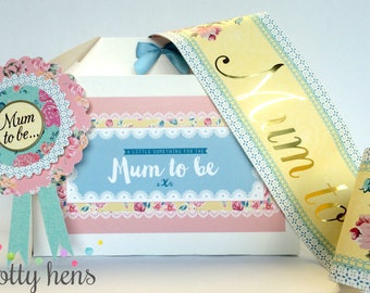 Mum to be gift box / Cottage Chic Vintage Floral / Filled / Rosette & Sash