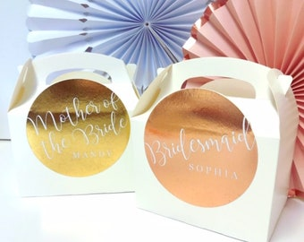 Personalised Wedding Favour Gift Box | ROSE GOLD FOIL | Celebration wedding Party Gift Bag