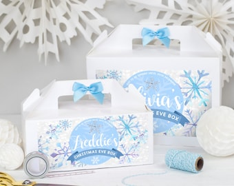 Personalised Christmas Eve Gift Box   SNOWFROST FROZEN   White box with ribbon bow