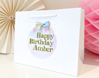 Birthday Gift Bags luxury Personalised | WHITE PALM BIRTHDAY | Rainbow pastel Gold Foil  | Birthday Party