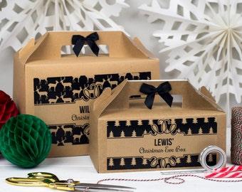 Personalised Christmas Eve Gift Box   BLACK & KRAFT  Kraft box with polka ribbon bow