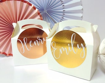 Personalised Wedding Hen Party Favour Gift Box | ROSE GOLD FOIL | Celebration Party Gift Bag