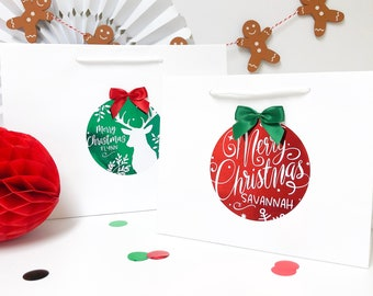Personalised Christmas Bags   XMAS FOIL BOUTIQUE   Merry Christmas Gift Bag
