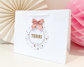 Birthday Gift Bags luxury Personalised | WHITE TERRAZZO BIRTHDAY | Rose Gold Foil  | Birthday Party Favour