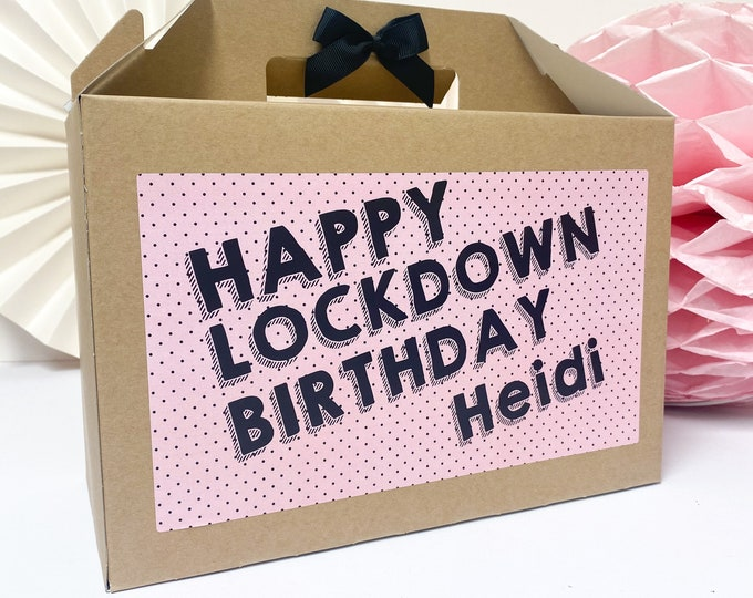 Featured listing image: Happy Birthday Box Personalised | LOCKDOWN BIRTHDAY 2020 | Kraft box with ribbon bow