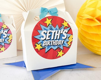 Children's Party Box | COMIC SUPERHERO | Personalised kids meal boxes