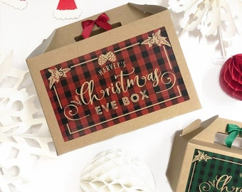 Christmas eve Gift Box Personalised   PLAID   Green Red Present boxes with ribbon bow