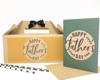 Father's Day Gift Box with Card  | HAPPY FATHER'S DAY | Kraft present for Dad Daddy Retro A6 Envelope