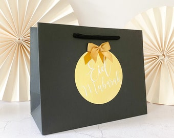 Birthday Gift Bags luxury Personalised | BLACK EID Mubarak FOIL  | Gift Bag | Rose Gold Foil  | Party Favour
