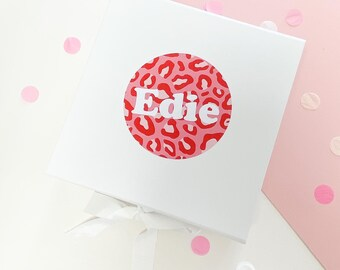 Birthday gift box | PINK RED LEOPARD | White Gift boxes bow