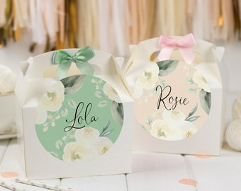 Personalised Childrens Activity Party Favour Gift Box | WHITE ROSE | Wedding Birthday Party Gift Bag with Bow
