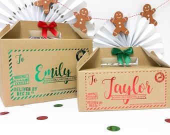 Christmas Eve Box    NORTH POLE FOIL    personalised Xmas Eve Boxes, Personalised Chirstmas Gift, Stocking Christmas Card Bag Box