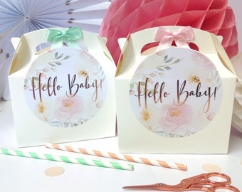 Personalised Baby shower hello baby Favour Gift Box | ROSE GOLD PEONY | Celebration Party Gift Bag with Bow
