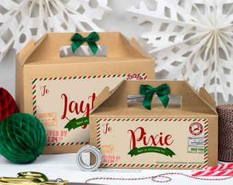 Christmas Eve Box Personalised | PARCEL FROM SANTA | Kraft box with ribbon bow