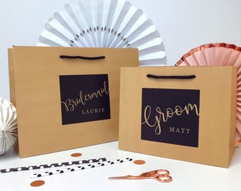 Personalised Wedding gift Bag  | LUXURY KRAFT BOUTIQUE | Wedding party bag Favour | Bride & Groom thank you bags